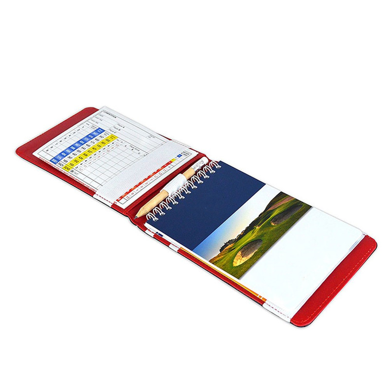 1set PU Golf Scorecard Holder Keeper Golf Score Book Cover Pocketbook Scoring With 2 Golf Score Cards & 1 Pencil  &1 Cover
