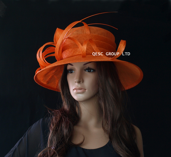 NEW Orange Large brim dress Sinamay Hat with ostrich spine for wedding  races church party derby-in Fedoras from Apparel Accessories on  Aliexpress.com ... cc740b025a86
