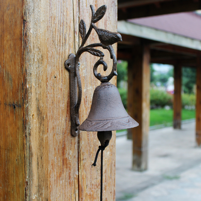 European Vintage Rustic Bird on Branch Design Cast Iron Wall Mounted Hand Cranking Door Bell