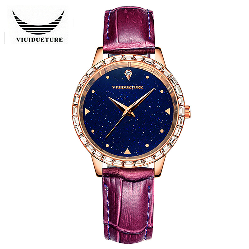 VIUIDUETURE Original Fashion Brand Starry Sky Series Quartz Watch Rose Gold Crystal Leather Women Dress Watches Reloj Mujer