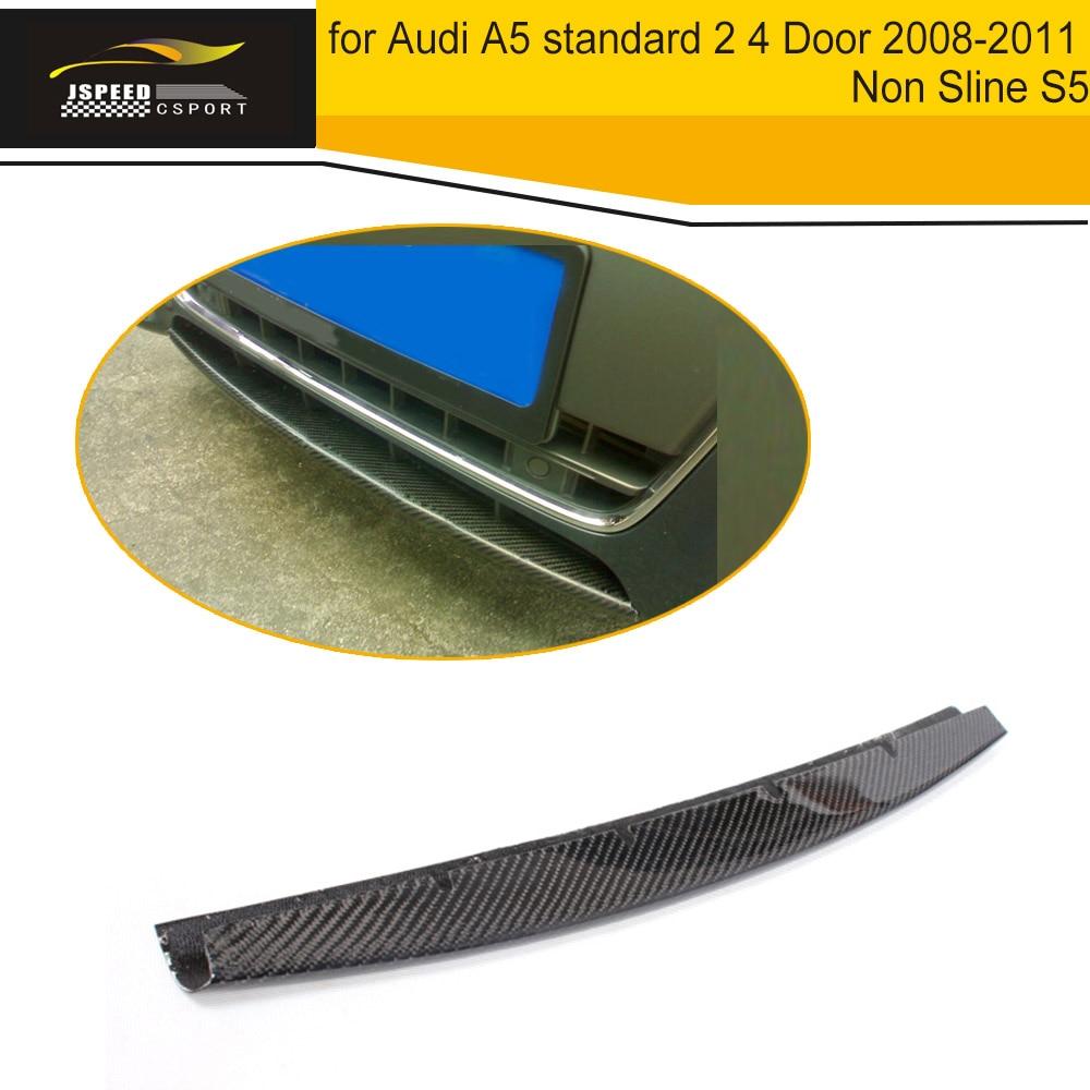 Carbon Fiber Front Bumper Lip Spoiler Wing for Audi A5 standard 2 4 Door 2008-2011 Non Sline S5 Black FRP
