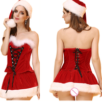 Good Quality Strapless Sexy Christmas Costumes Two piece suit For Ladies Erotic Lingerie Cosplay Fantasias Sexy Carnaval Mulher