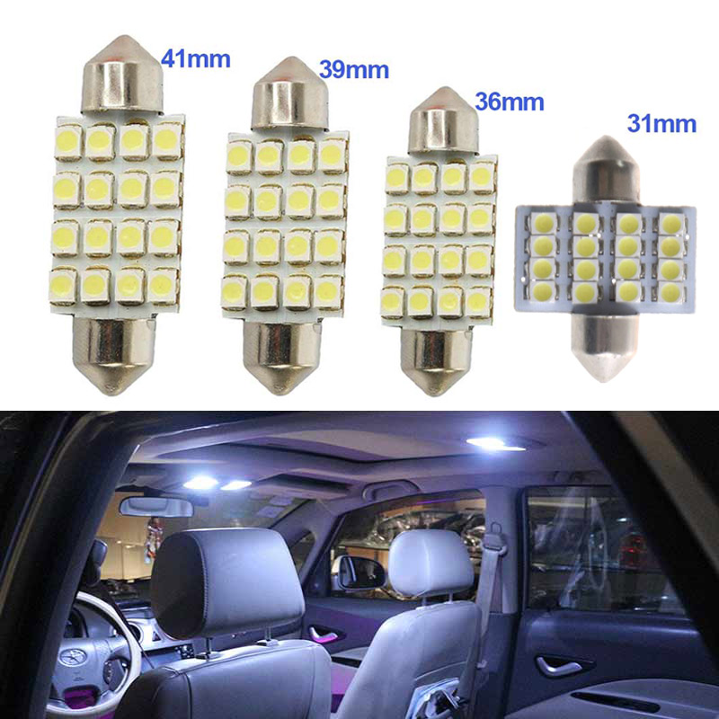 2pcs Car Auto Interior Festoon Dome 16 SMD LED Lights White Brake Signal Lamp 31/36/39/41mm   DXY88