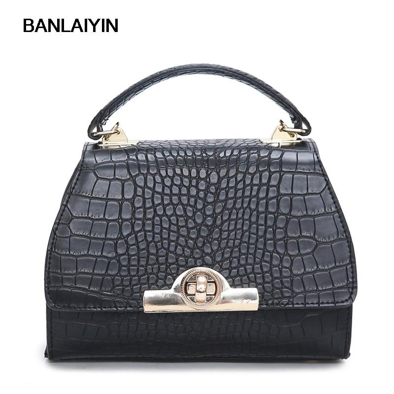 Nice European And American Fashion Handbag Personality Small Side Of The Bag Lock Crocodile Pattern Shoulder Diagonal Cross Bag