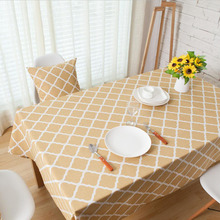 Nodic Yellow Geometric Print Tablecloth Cotton Dining Table Cover Rectangle Cloth Kitchen Home Decoration Wedding Party