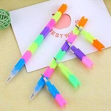 12 ручек креативный карандаш Радужный Многофункциональный строительный блок ручка карандаш сотня деформация 8 узлов штабелер карандаши для развития 40