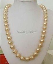 Hermosa 12 mm AAA Golden Sea sur Shell collar de perlas cadena de la cuerda Making joyería de los granos de piedra Natural 24 pulgadas ( pedido mínimo Order1 )