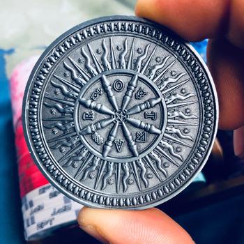 Arcana Tarot Dealer Button ororos Retro srebrne karty do pokera straż koło fortuny wróżenie od głowy do ogona tanie i dobre opinie jialong GG313 Silver Arcana Coin 50mm Heavy With an oroborus and squared circle on one side and a wheel of fortun