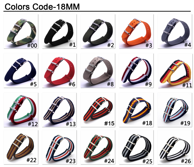 купить 1PCS NATO Watchband Nylon Strap Black Ring Buckle 18mm 20mm 22mm 24mm Striped Replacement Band Watch Accessories по цене 76.12 рублей