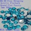 Rhinestones de acrílico Flatback Redondo Facetas Planas Muchos Colores 5mm 300 unids Scrapbook Pegamento En Diamantes DIY Bolsas de Ropa mochila