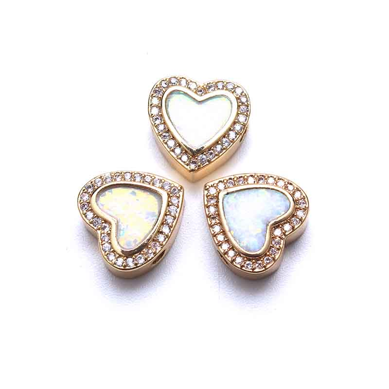 Cute Opal Heart Coper Bracelet Connector Gold Silver Black Micro Pave CZ Necklaces Pendants DIY Jewelry Components