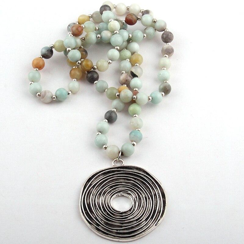 Kostenloser Versand Mode Amazonit Stein Perle Metall Disc Kreis Anhänger Halsketten