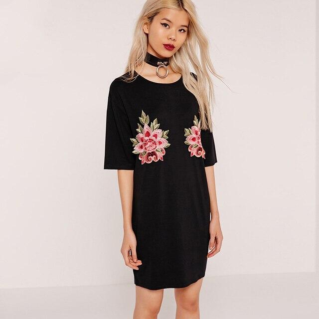 Robe Floral Brodé Manches T À Femmes Chemise Courtes D'été Noir qIw70tR
