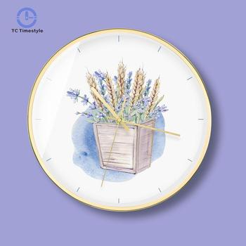 Living Room Decorative Painting Wall Clock Murals Purple Lavender Decor Sofa Paintings Silent Mute Wall Clocks