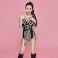 Women's New Sparkly Rhinestones Tassel Black Bodysuit Waistband Sexy Outfit Nightclub Dance Team Female Singer Party Costume