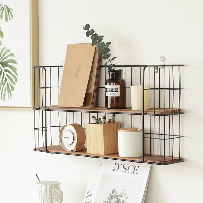 Storage Rack Metal Functional Multi-storey Wrought Iron Rack Wooden Board Storage Shelf Wrought Iron Shelf for Kitchen Bathroom
