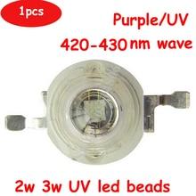 Free Shipping 1pcs 2W 3W 45mil 3.4V 600-700mA LED Beads UV Ultraviolet 420nm-430nm Lamp Light