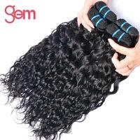 Indian Water Wave Hair Extensions 100% Menselijk Haar Weave 1 Bundel GEM BEAUTY Supply Non-remy Haar Natuurlijke Kleur 1b kan Geverfd