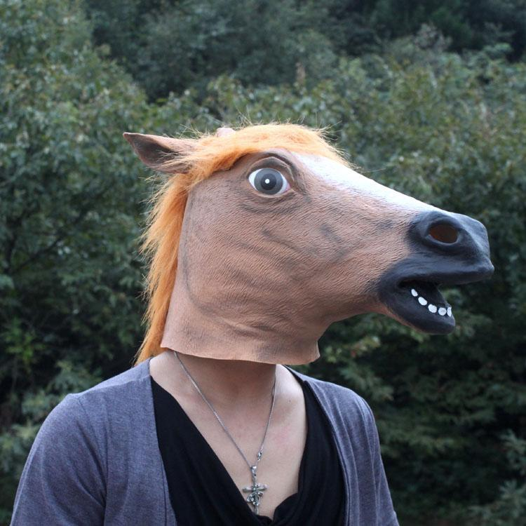 novelty brown creepy horse head halloween latex rubber costume theater party mask carnival prop sillicone mask in party masks from home garden on