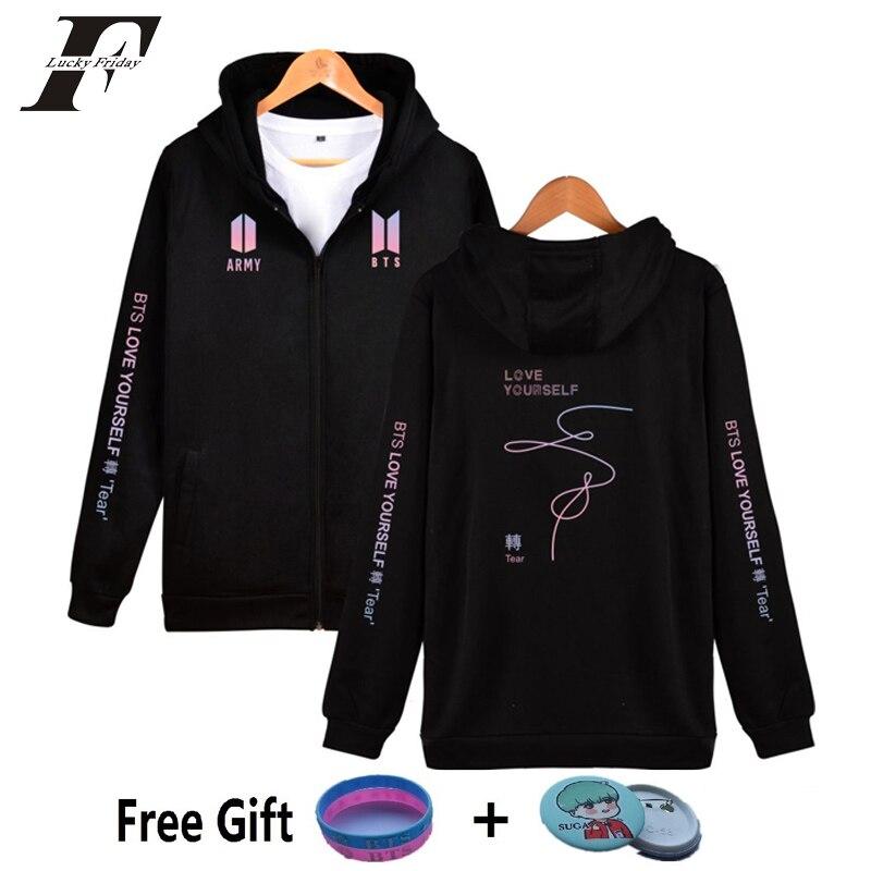 luckyfridayf 2018 bts album BTS LOVE YOURSELF loose zipper long-sleeved hooded hoodies sweatshirts women men moletom clothes
