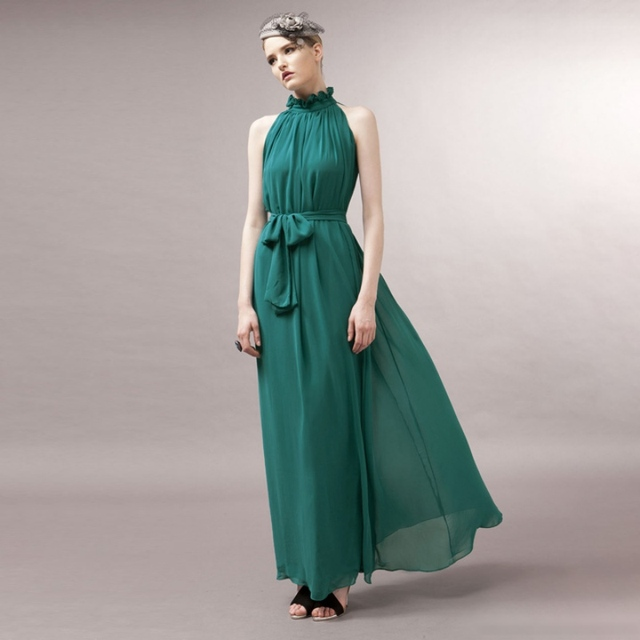 Vestido azul marino con verde