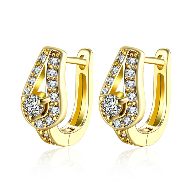 Whole Fancy Women Bridal Gold Bling Cz Water Drop Piercing Clip On Earrings For Wedding Party Fashion Brincos Bijouterie In From Jewelry