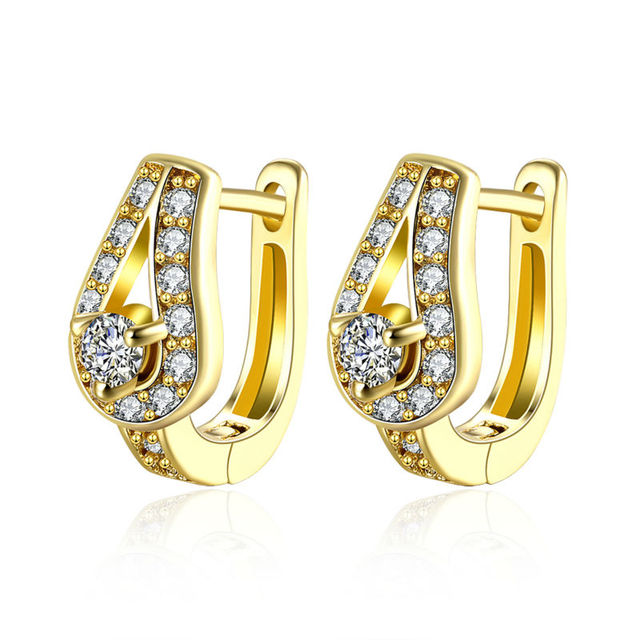 Whole Fancy Women Bridal Gold Bling Cz Water Drop Piercing Clip On Earrings For Wedding Party