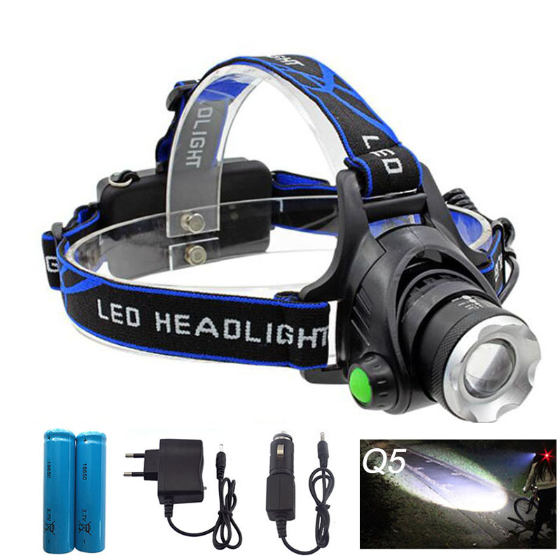 Waterproof LED Headlight Q5 Headlamp dengan 18650 Baterai mobil AC Charger Head Lamp LED Senter Kepala Torch Camping Fishing