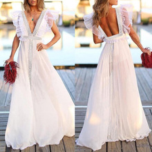 2019 summer new womens solid color lace stitching deep V-neck sexy backless beach dress party ladies long