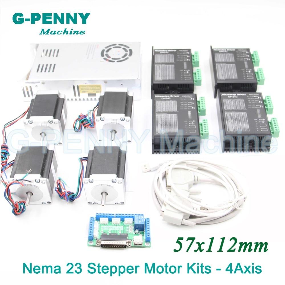 4 Axes CNC pas à pas moteur kits de contrôle name23 moteur pas à pas + Pilote 24-50VDC + alimentation commutateur 500 w 36 v + 5 axes sfe