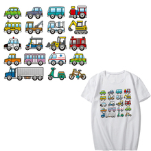 Cartoon Car Patch Set Iron-on Transfers Parches for Clothes DIY T-shirt Applique Heat Transfer Vinyl Parch Stickers on Clothing