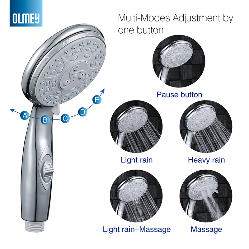 Olmey Bathroom High Pressure Hand Held Shower Head Powerful Shower Against Low Flow 5 Spray Settings Hand Shower 21001 Shower Heads Aliexpress