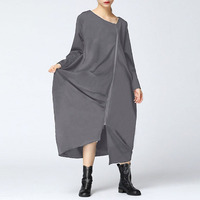 2018 New ZANZEA Women Dresses Winter Autumn Full Sleeve Plus Size S 5XL Vestidos Casual Loose