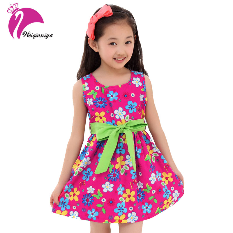 New Summer 2017 Casual Cotton Girl Dress Sleeveless Baby Girls Clothes Flowers Girl Print Dresses Vestido Infantil Kids Clothes