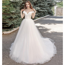 Verngo Ball Gown Wedding Dress Appliques Tull Gowns Lace-up Elegant Bride Off The Shoulder Princess