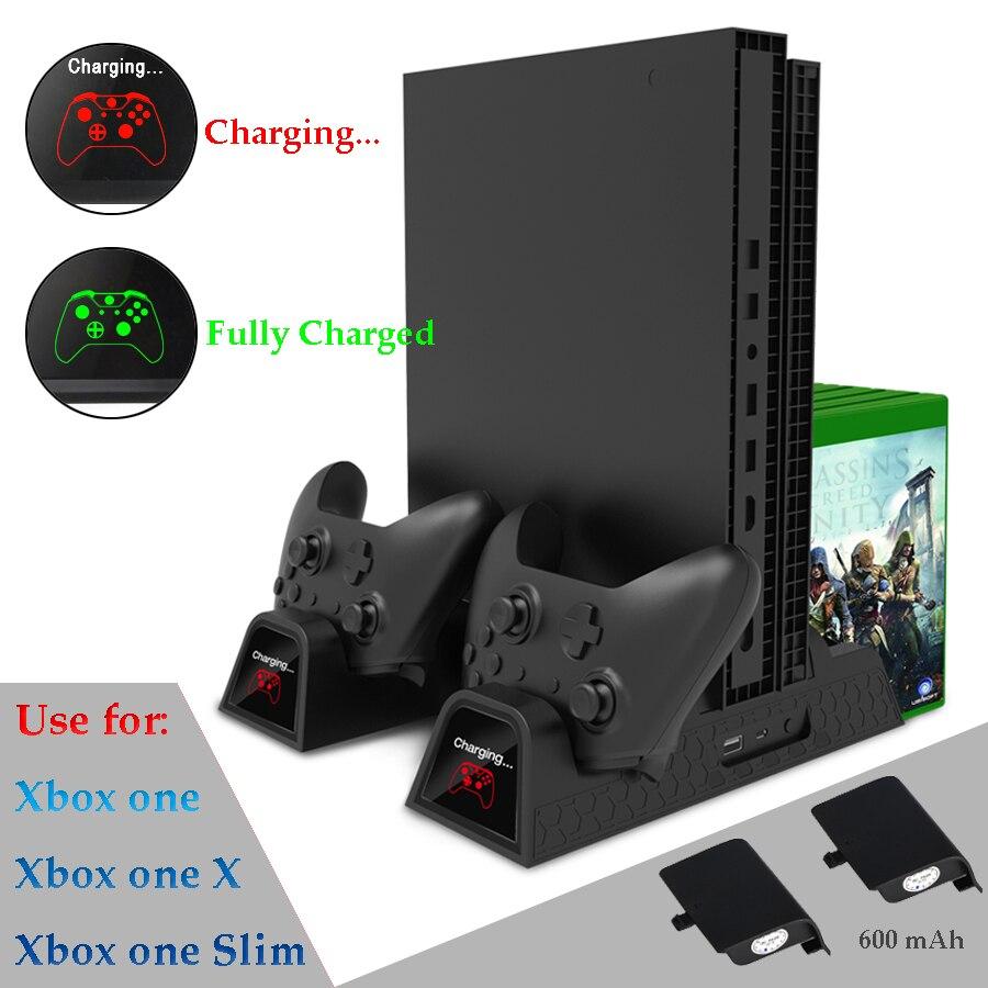Vertical support de refroidissement et Contrôleur stand de chargement Station pour Xbox One X/Xbox un Mince avec 2 Pack 600 mAh Rechargeable battry