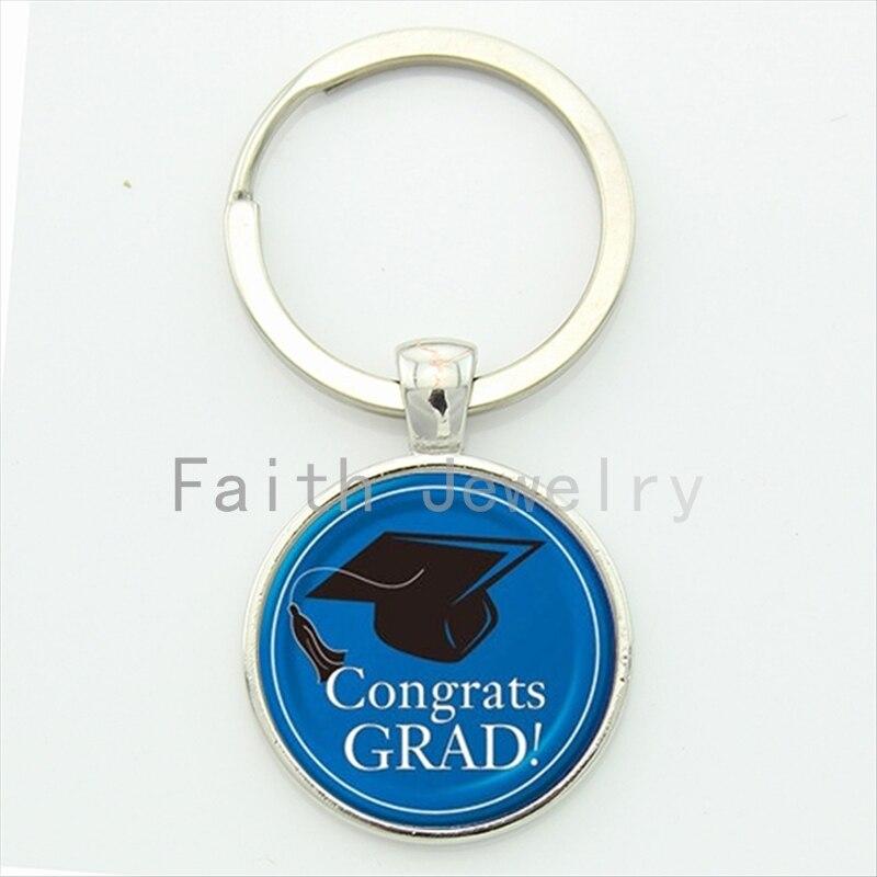 <font><b>Congrats</b></font> <font><b>grad</b></font> key chain trendy gifts for students graduate blue <font><b>black</b></font> bachelor cap pattern high school graduation keychain KC407