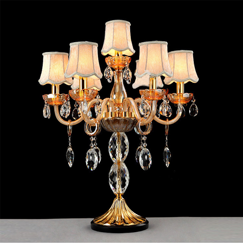 crystal table decoration for weddings Modern luxury champagne color crystal table lamp European style bedroom bedside lighting цена