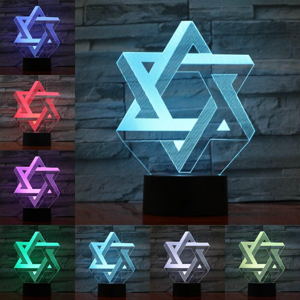 Hexagram 3D Star Of David Night Light LED 7 Colors Mood Table Lamp USB Bedroom Bedside Sleep Light Fixture Home Decor Kids Gifts