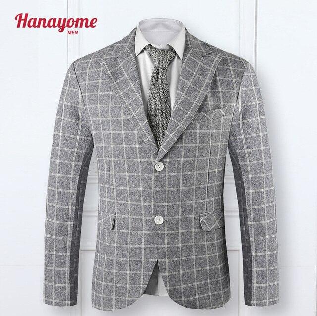 2016 Custom Slim Fit Plaid Dress Casual Blazers Gris Claro Muesca Trajes de Hombre Traje Chaqueta de solapa Esmoquin Del Novio de Los Hombres de Cuello Chal SI9