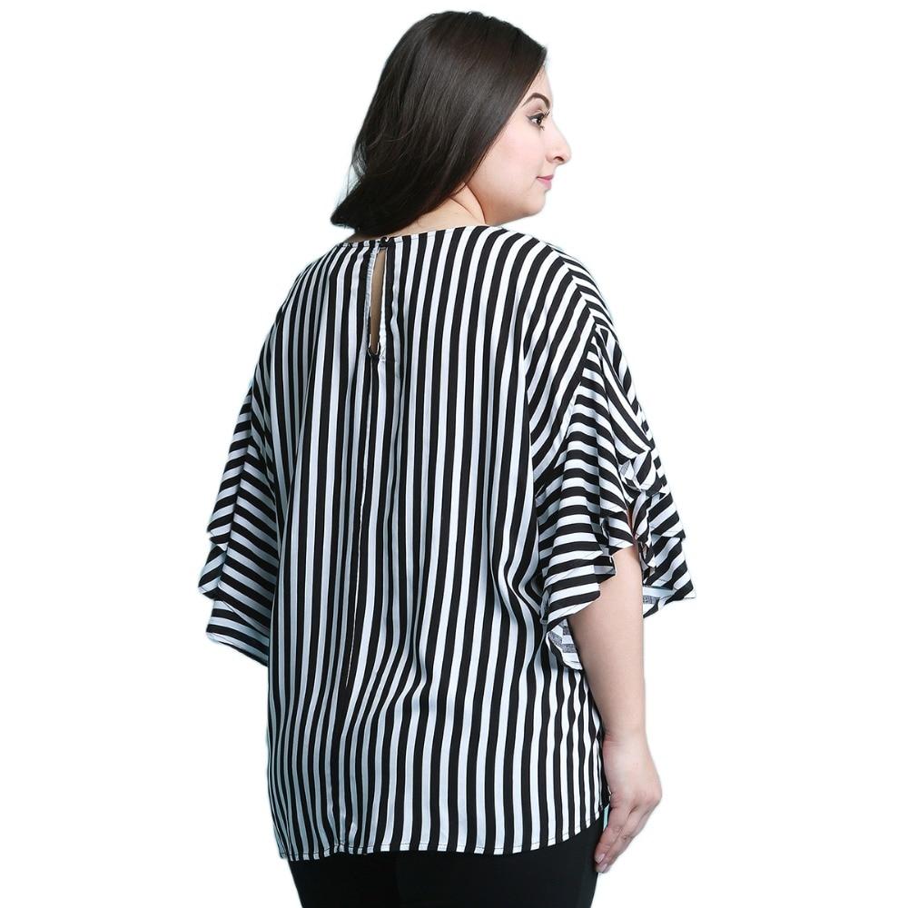 Plus Size Casual Black And White Stripe Half Ruffles Sleeve Blouse Women Loose Basic O Neck Long Shirt Tops 6XL 7XL 4