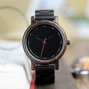 Image 2 - BOBO BIRD V P10 ساعات الرجال الطبيعية الأسود خشبية الأبنوس كوارتز موضة ساعة اليد مع الأحمر من جهة ثانية