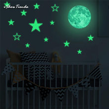 Glow In Dark Wall Ceiling Moon Stars Stickers Wall Stickers Night Kid Home Decor Glow In The Dark Stars Stickers Muraux(China)