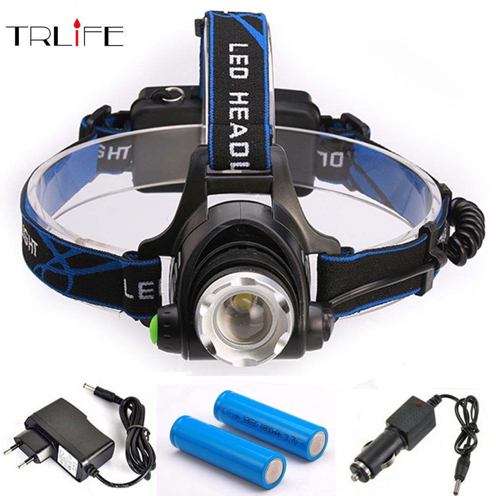 цена на Led Headlamp Lantern T6/L2 10000LM Head Lamp Flashlight Lanterna Headlamps Flashlights+2x18650 Battery+car charger+DC/AC charger