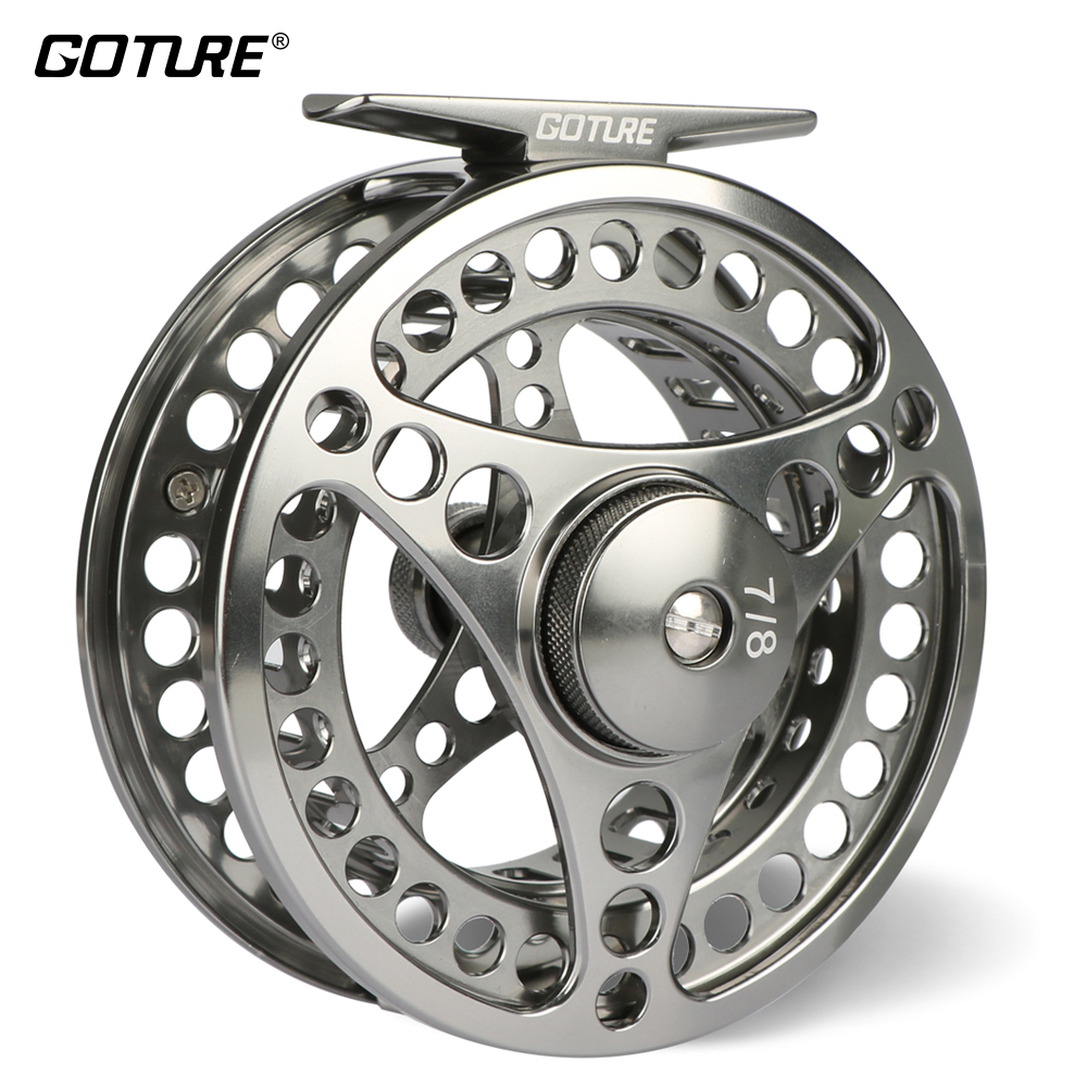 Goture 3/4 5/6 7/8 9/10 WT Fly Fishing Reel CNC Maskine Cut Large Arbor Die Casting Aluminium Fly Reel med taske