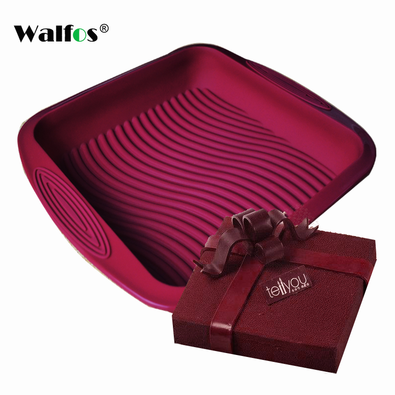 WALFOS food grade Non stick wind red Square Silicone Mold Cake Pan Baking Tools mould For Cake Heat Resistant Bread Mold|mould for|mould for cake|food grade - title=