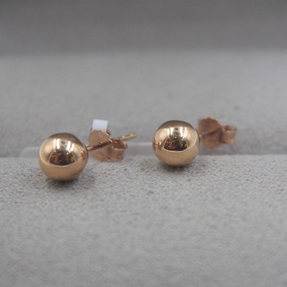 Pur 18 K or Rose boucles d'oreilles personnalisé petite boule lisse mignon boucles d'oreilles 1.3-1.5g tous les jours bijoux petite amie meilleur cadeau - 4