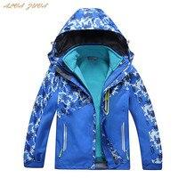 Children Camouflage Ski Jacket 3 In 1 Kids Waterproof Windproof Fleece Coat For Boys Girls Hiking Camping Trekking Coats Cyy262