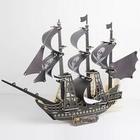 Black Pearl Wood boat Caribbean Pirate Sailboat Model Assembling Toy Wooden Diy Manual Simulation Warship Ship kids child gift