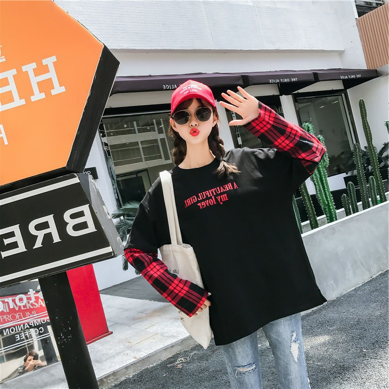 Long Sleeve T shirt Women Hip hop Ulzzang Tees Womens Patchwork Korean Style Fake Two Piece T shirts in T Shirts from Women 39 s Clothing